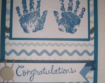 Handmade Card - Baby handprints boy 10110