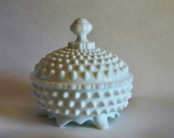 Fenton, Hobnail, Milk Glass, Covered Candy Dish, Bathroom Catch All, French Country Kitchen, Gift for Her, Hobnail Collector Gift