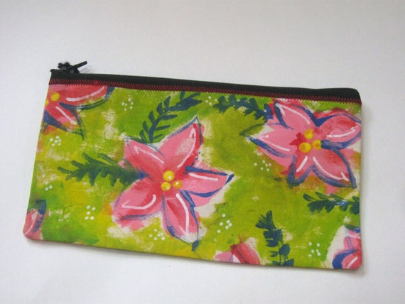 Pink Flower Canvas Zip Pouch - Mothers Day, graduation, Birthday