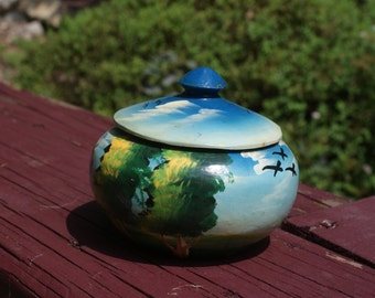 Small Hand Painted Wooden Container Trinket Box