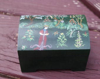 Pretty Hand Painted Black Wood Asian Box