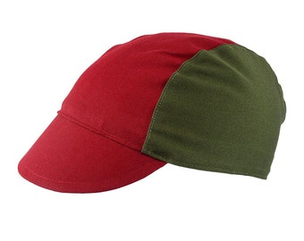 Red/olive cotton cycling cap - handmade cap; bike cap; bicycle cap; cotton cap; cycling clothes; bike wear