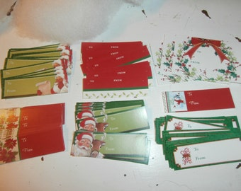 Vintage Christmas gift tags huge lot Santa reindeer poinsettias and more FREE SHIPPING!