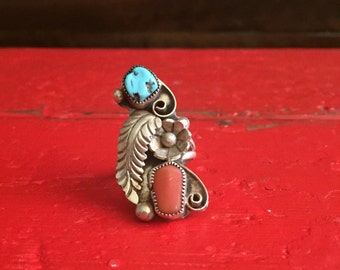 Sterling Silver Turquoise and Coral Native Ring Size7