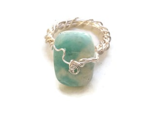Final Clearance Larimar Gemstone Ring, 70% Off, Ring Size 8, Silver Wire Wrapped Ring, RIN074
