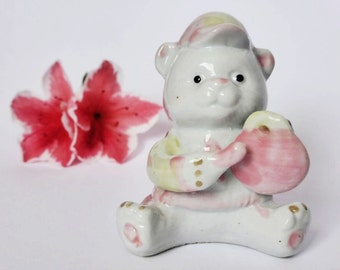 SALE: Hand Painted China Baby Bear Figurine  ~  Vintage Decor, Teddy Bear Knick Knack~ Collectible ~ Baby Shower Gift ~