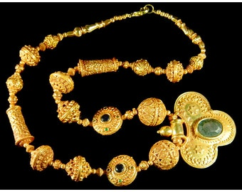 Listing for Barb, necklace , gold beads and gemstobe bead.