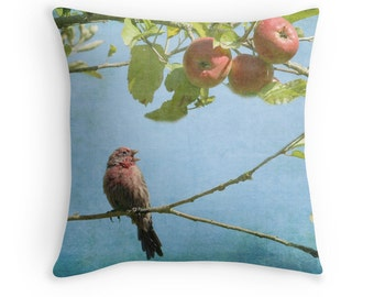 Singing Bird, Finch, Nature Pillow, Bird Pillow, Bird Cushion, Apple Tree, Bird Decor, Nature Decor, Wildlife Decor, Blue and Red Pillow