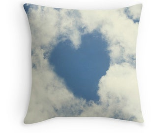 Heart Pillow, Cloud Pillow, Gift for Mom, Gift for Women, Cloud Cushion, Love Decor, Blue and White Decor, Romantic Gifts, Cottage Chic
