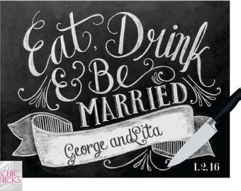 Personalized Cutting Board, Custom Glass Cutting Board, Eat Drink & Be Married, Wedding Shower Bridal Shower Gift, Newlyweds, Wedding Gift