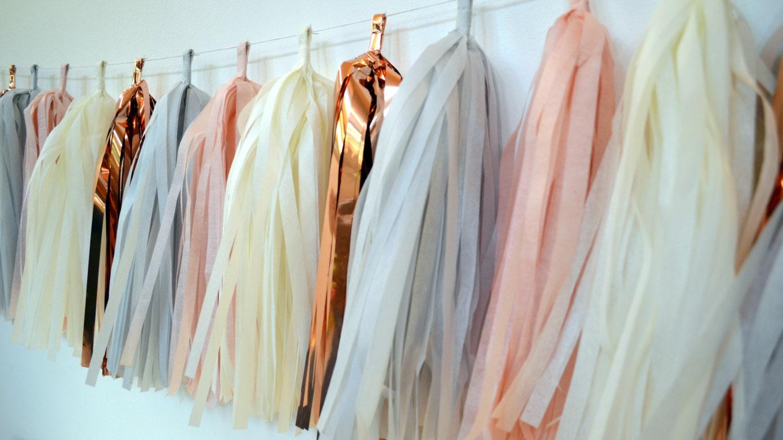 rose gold blush tissue tassel garland blush wedding decor