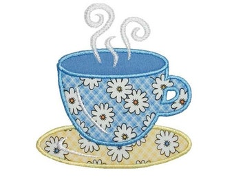 Teacup Applique Machine Embroidery Design Coffee Tea Cup