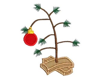 sparse christmas tree applique machine embroidery design - Christmas Tree Charlie Brown