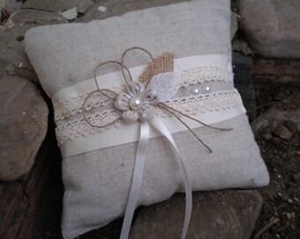 Linen Ring Bearer Pillow - Wedding pillow-Natural linen and lace pillow-vintage weddings pillow