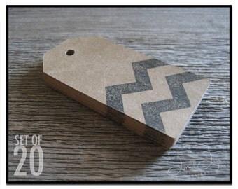 Chevron Blank Gift Tag - set of 20