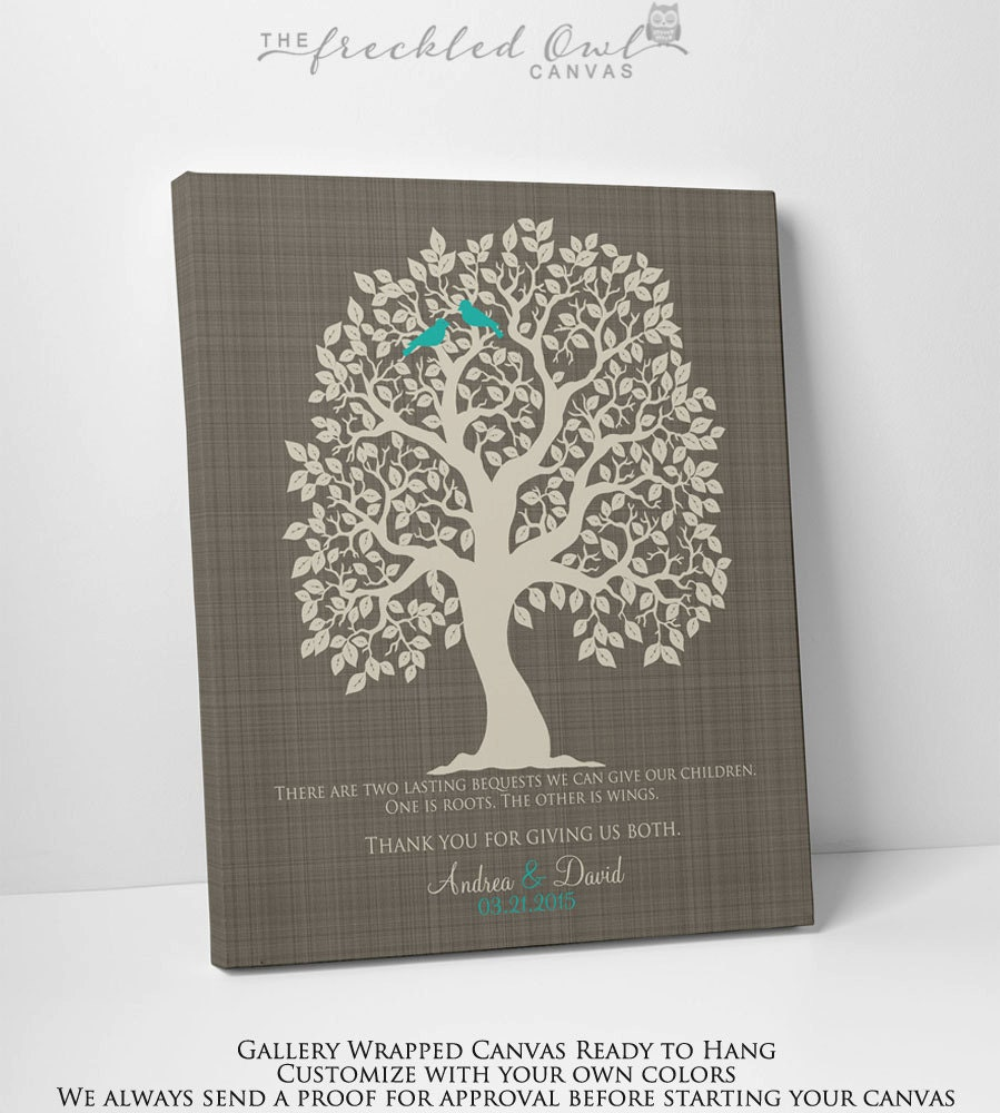 CANVAS Wedding Gift for Parents Personalized Wedding Tree