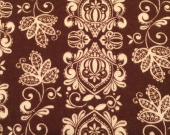 Almost 2 yards of snuggly brown and cream patterned flannel fabric