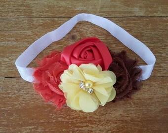 Red, Yellow & Brown Headband- Brown soft  headband - Fall Headband-  autumn headband