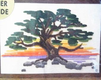 """1975 Jiffy Stitchery Kit by Sunset Designs """"Cypress Sunset"""""""