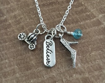 Cinderella inspired necklace-Believe-Fairy tale necklace-Cinderella inspired Charm necklace-Cinderella carriage-Easter Gifts