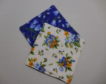 Coasters Set of 2 Two Handmade Coasters Homemade Coasters Fabric Coasters Flowers Floral Bluebells Pansies Yellow Blue White