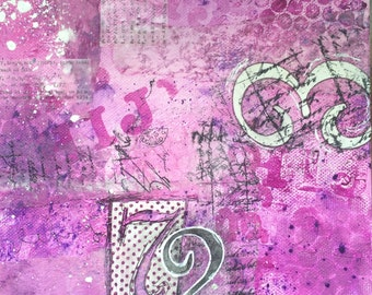 "Original mixed media artwork: ""Numbers 1.1"" Aline Bunji"