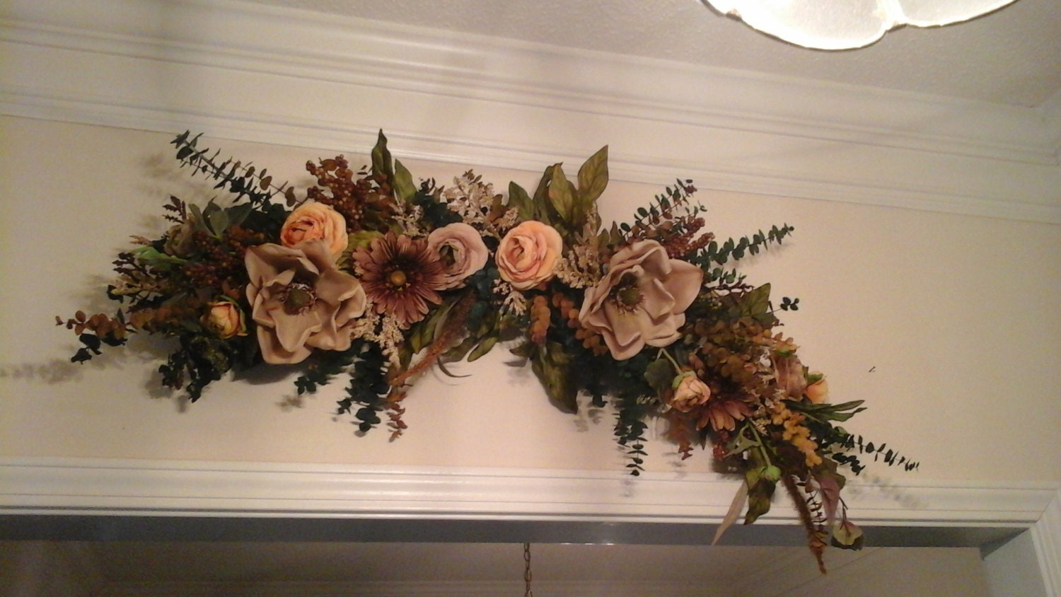 Floral Swag Large Silk Floral Arrangement SHIPPING INCLUDED on Silk Flower Wall Sconces Arrangements id=15973