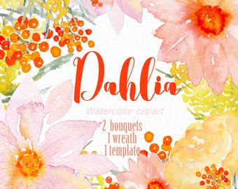 """Watercolor Clipart digital Hand Drawn. Collection """"Dahlia"""". Romantic wedding clipart, pink and orange pink floral  girly clipart."""