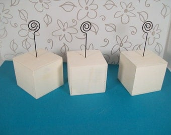 Set of Three Unfinished Wood Block Note or Photo Holders