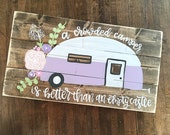 Vintage Camper | Airstream Camper | Flowers | Hand Painted | Rustic Wood Sign | Rustic Home Decor | Glamping | Happy Camper