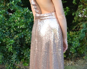 Sequin mix and match bridesmaid multi-way dress: Ready to Wear 'Kira' wraparound infinity gown - halter, backless and more! Prom or formal