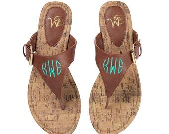 Monogrammed Sandals Black Brown