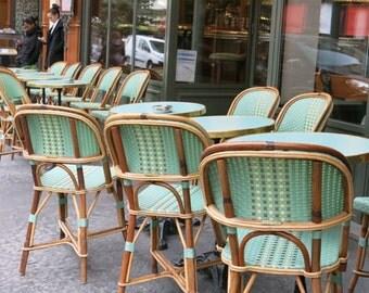 Paris Photography: Paris Café chairs, aqua