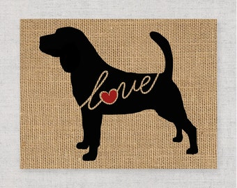 Bloodhound Love - Burlap Wall Art Print Decor Gift for Dog Lovers - Personalize w/ Name - More Breeds Available - Rustic Silhouette (101s)