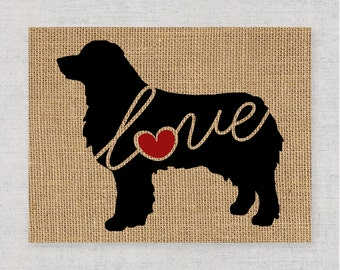 Australian Shepherd / Aussie - Black Customizable, Personalized Burlap Dog Wall Art Home Decor Print Pet Silhouette - Add Dog's Name (101s)