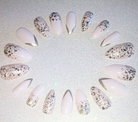 pastel pink and gold glitter stiletto nails press on