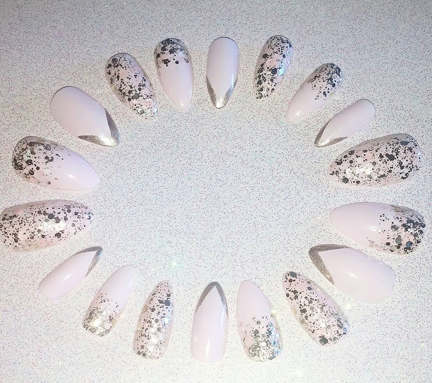 pastel pink and gold glitter stiletto nails press on nails