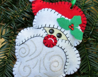 Wool Felt Santa Face Ornament Hanger