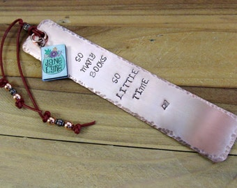 So Many Books Copper Stamped Metal Bookmark