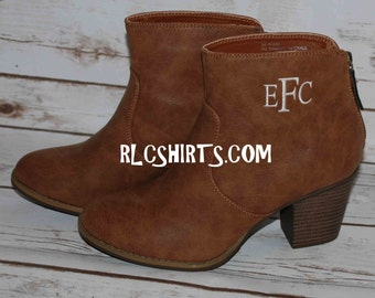Monogrammed Short Boots. Brown or Black Boots. Ashlyn Monogrammed Boots. Monogrammed Boots. Ankle Boots. Personalized Boots. Boots.
