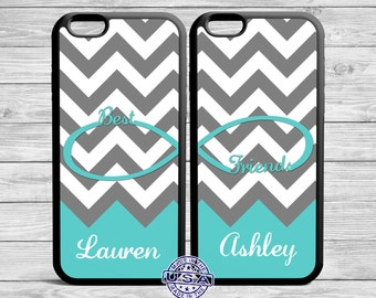 Best Friend Iphone case set Infinity Gray Chevron Turquoise CaseFor iPhone and Galaxy TWO CASE SET