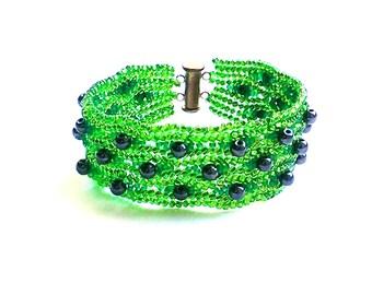 Beaded bracelet cuff Seed bead bracelet Green bracelet Beaded jewelry Beadwoven bracelet Gemstone bracelet Holiday gift for her