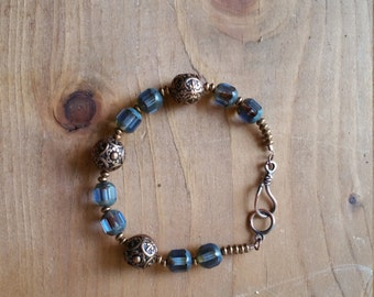 Blue Picasso glass and bronze metal bead bracelet