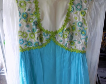 Blue White and Green Vintage Flower Gown Small prom formal 60s