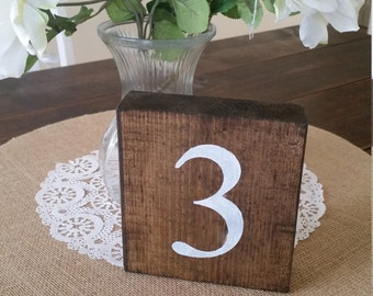 Set of 10 Wood Table Numbers, Rustic Wedding Table Numbers