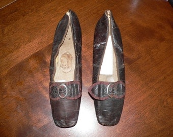 Antique Victorian 1840- 60s Shoes w Owners Name / Black Leather Straights