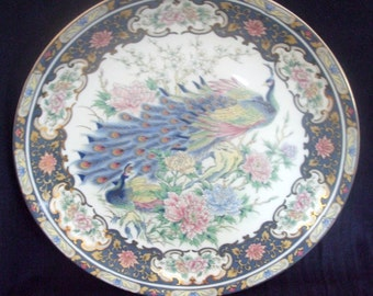 Vintage Toyo Japanese Porcelain 12 Inch Cabinet Plate Charger Peacock & Peonies