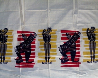 Vintage French Mime Silhouette Fabric 1 Yard Unused