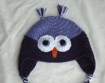 Crochet Owl Hat, Made to Order, Size Adult,  photo prop, winter hat