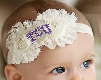 Texas Christian TCU Baby/ Toddler Shabby Flower Hair Bow Headband
